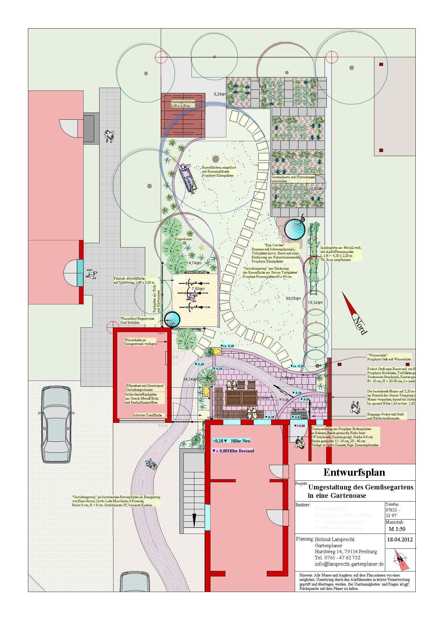 Wohngarten mit Eingansbereich, eine besondere Herausforderung für den Planer, Umgestaltung in Bad Krozingen, Helmut Lamprecht Gartenplaner