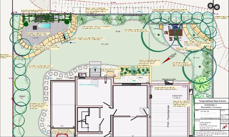 Neugestaltung des Wohngartens mit Mauern und Sichtschutz Bad Bellingen, Gartenplaner Helmut Lamprecht