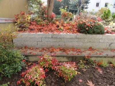 Garten im Herbstkleid, rot-orange, mit Natursteinmauern.