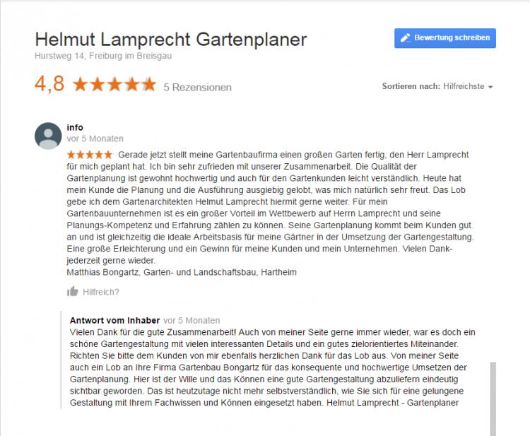 Empfehlung durch Gartenbau Bongartz, Hartheim