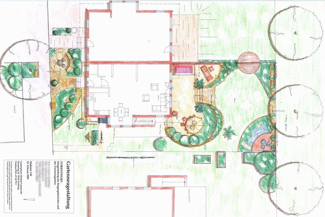 Römischer Gartenstil in einem Reihenhausgarten in Endingen. Gartengestaltung Helmut Lamprecht