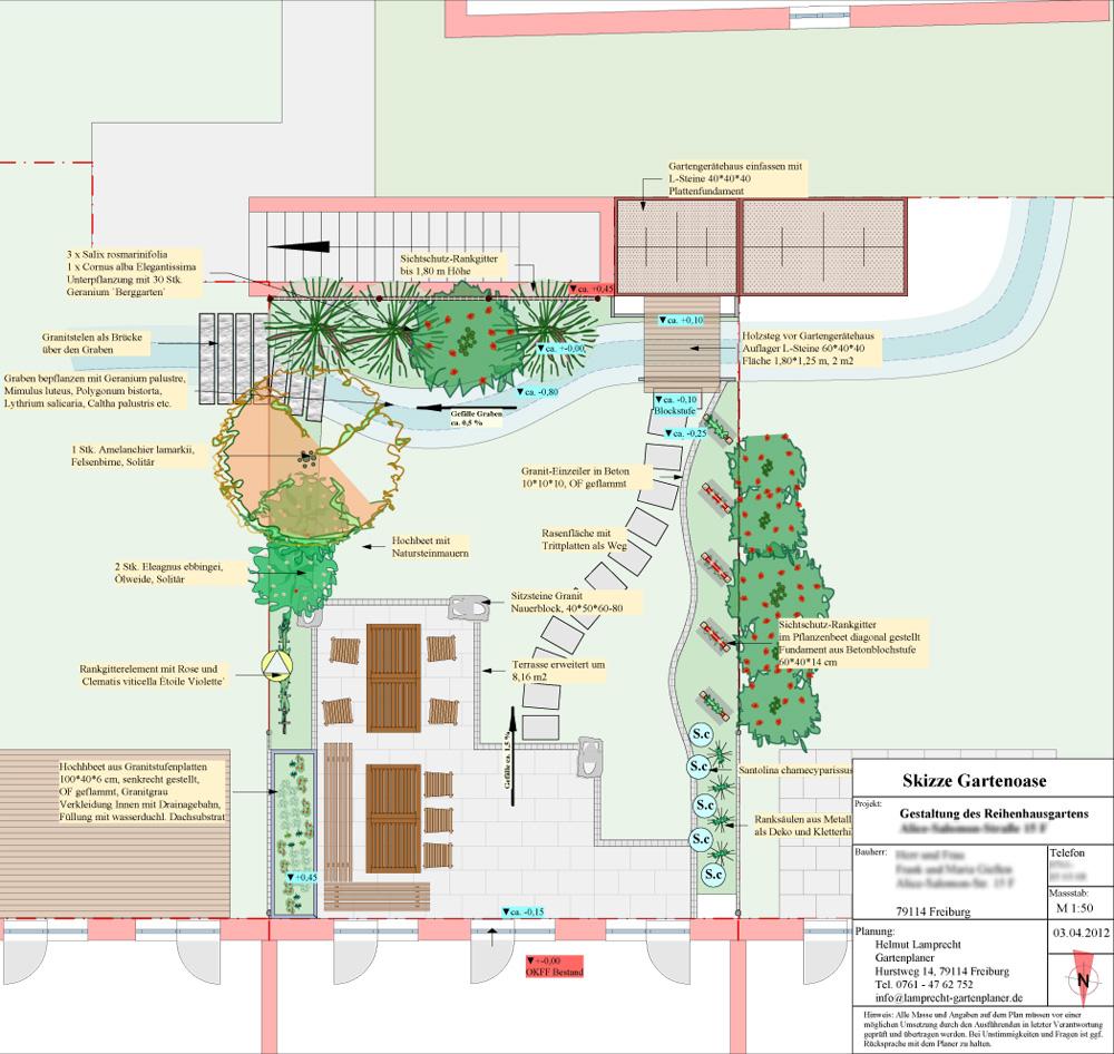 Reihenhausgarten Innere Elben, Freiburg, Geschickte Aufteilung, Sichtschutz. Gartenplanung Helmut Lamprecht