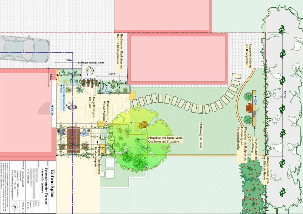 Kleiner Reihenhausgarten mit  neuer Natursteinterrasse  und Hochbeeten. Umgestaltung in Freiburg-Tiengen, Gartenplanung Helmut Lamprecht
