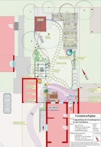 Hausgarten- Umgestaltung in Bad Krozingen. Neuer Hauszugang, Sitzplatz und Hausgarten. Gartenplanung Helmut Lamprecht