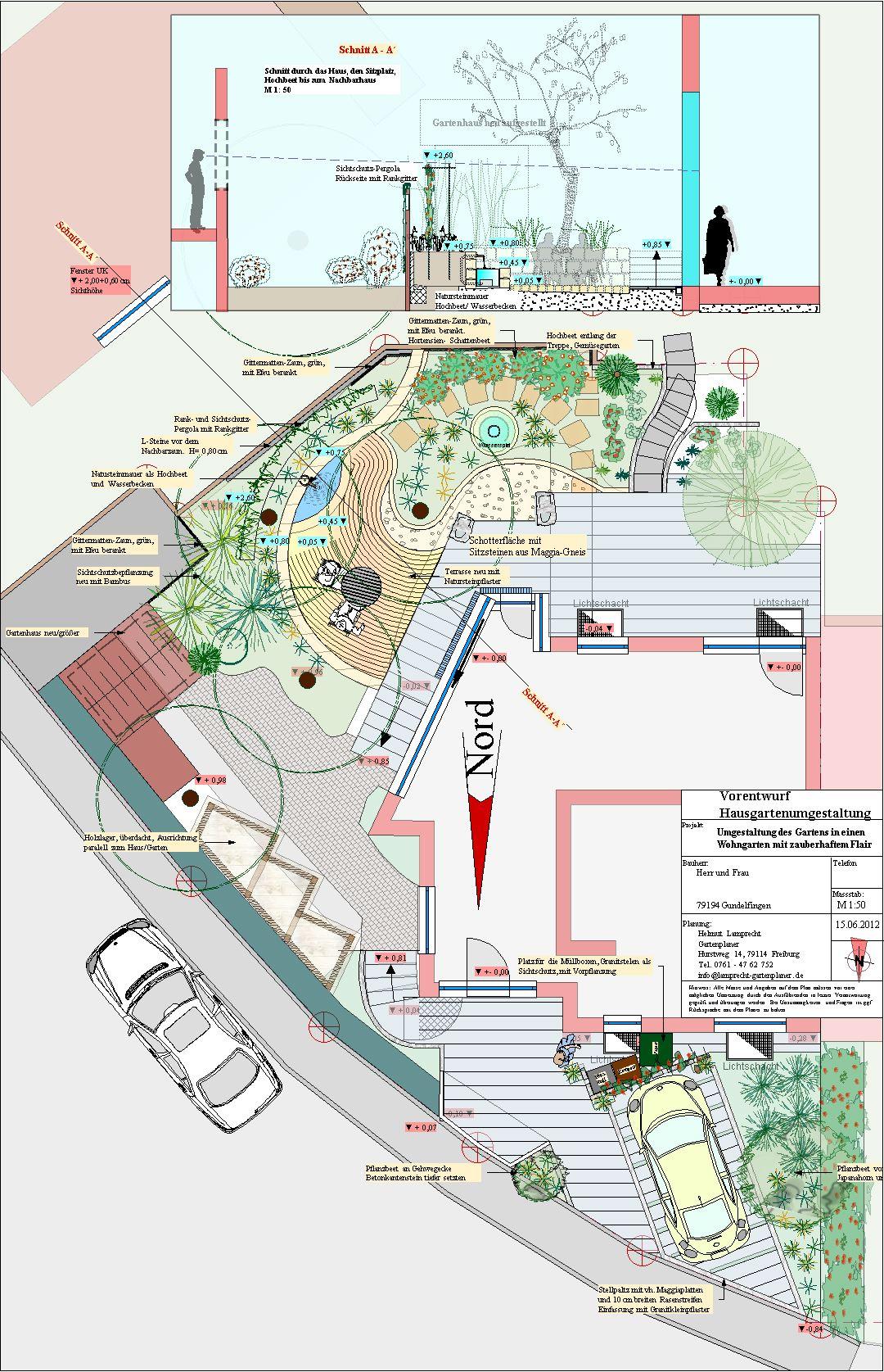 Gartenumgestaltung Kleiner Garten mit mediterranem Sitzplatz, Helmut Lamprecht Gartenplaner