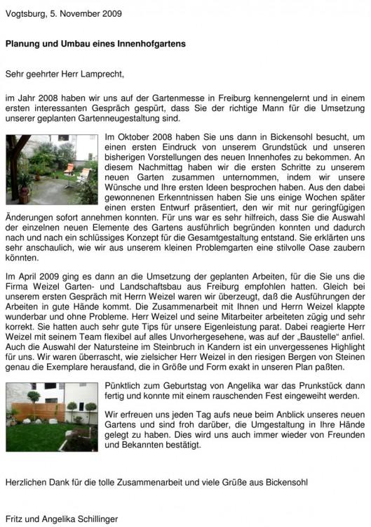 Dankschreiben für die gelungene Umgestaltung eines Innenhofes in einem alten Weindorf am Kaiserstuhl