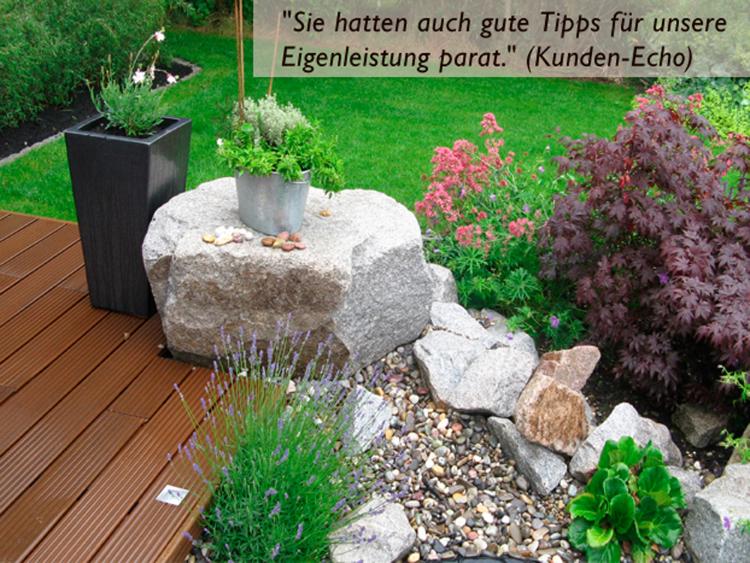 Gartengestaltung mit Holz, Granitstein und Stauden, Gartenplaner Helmut Lamprecht